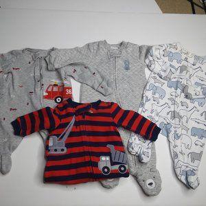 Lot of 4 Little Boy Footie PJs Size Newborn